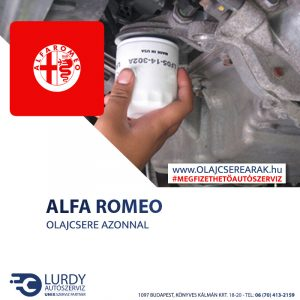 Alfa Romeo Spider 2.0 JTS 2003-tól 2006-ig olajcsere